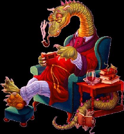 Фото Дракон в халате сидит в голубом вресле с банкеткой, покуривая трубку, читает книгу, рядом его внук