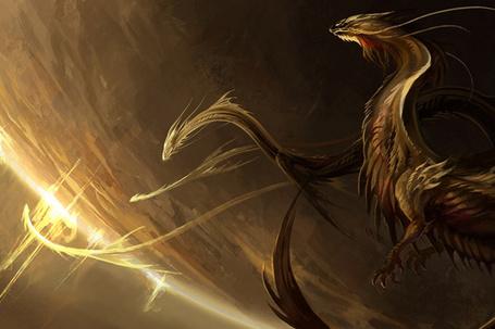 Фото Драконы золотистого цвета в полете в космосе над планетой