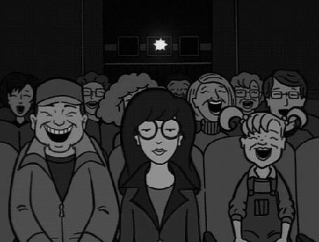 Фото Дарья сидит в кинотеатре, где вокруг нее все смеются, момент из мультсериала Дарья / Daria