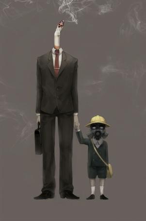 Фото Мужчина с сигаретой вместо головы и ребенок в противогазе рядом с ним