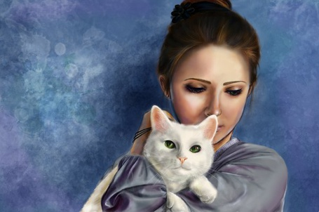 Фото Девушка держит белую кошку на руках (© chucha), добавлено: 26.04.2013 00:39
