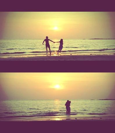 Фото Влюбленная парочка проводит время на море