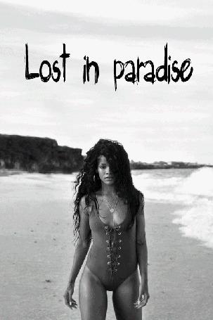 Фото Певица Rihanna / Рианна на пляже в купальнике (Lost in paradise / Потерянные в раю)
