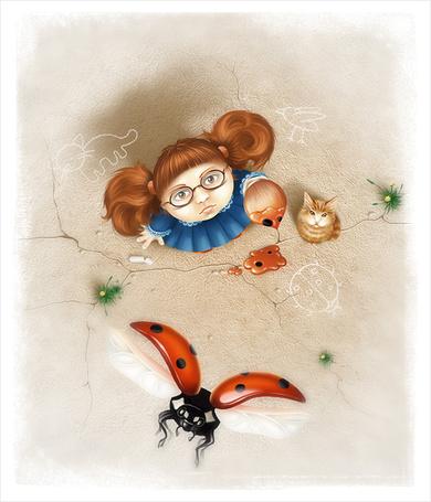 Фото Девочка держит в руках кисточку с красками, рядом на асфальте сидит рыжий кот и нарисованы рисунки мелом, они вместе смотрят на вверх на улетающую божью коровку