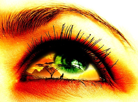 Фото Зеленый глаз девушки с отражением в нем природы в виде воющего волка на луну на фоне гор