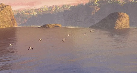 Фото Птицы летят над водопадом (мультфильм Легенды ночных стражей / Legend of the Guardians: The Owls of Ga Hoole)