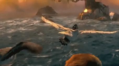 Фото Три совы летят над морем (мультфильм Легенды ночных стражей / Legend of the Guardians: The Owls of Ga Hoole)
