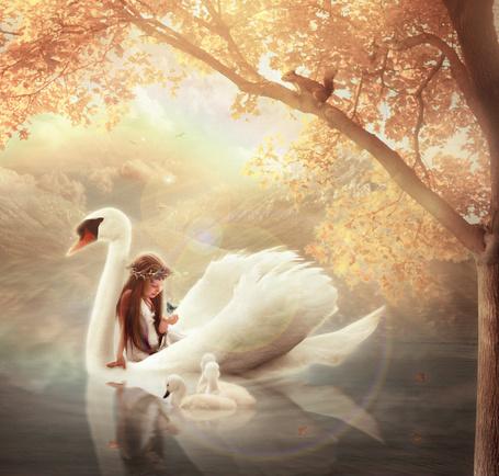 Фото Девочка с бабочкой в руке сидит на лебеде, перед которым плавают три маленьких лебедя, арт-мистика