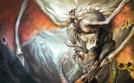 Фото Дракона оседлала смелая наездница (© Anatol), добавлено: 11.04.2013 23:50