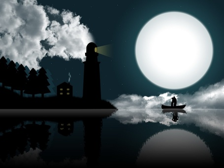 Фото Целующиеся в лодке парень и девушка, находящееся у морского берега со святящимся маяком, на фоне ночного звездного неба и белой луны