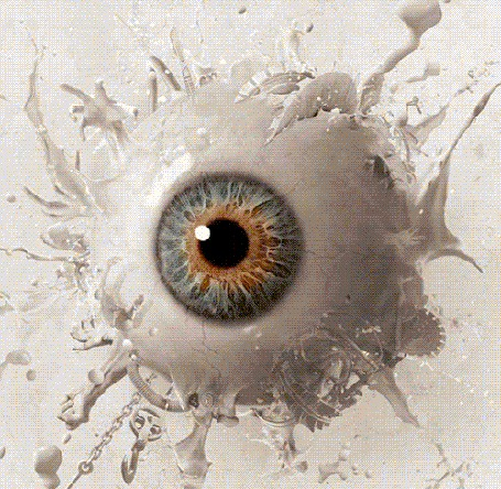 Фото Из глаза торчат руки, лица, циркулярные пилы и другие предметы, постер фильма Saw 3 / Пила 3