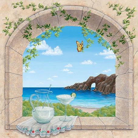 Фото Графин с рюмкой на подоконнике, в окне открывается вид на море и скалы