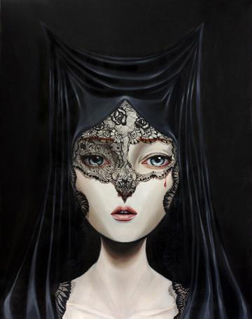 Фото Девушка в черной накидке на голове, с порванной вуалью и кровавой слезой на лице, художник под псевдонимом Crajes