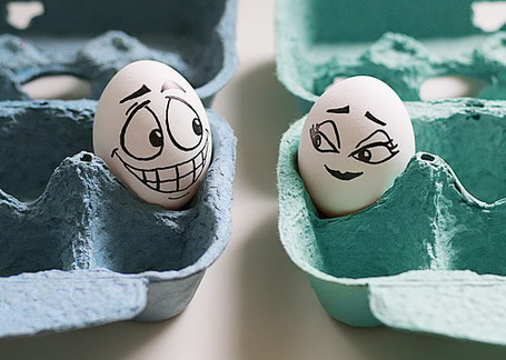 Фото Яйца с нарисованными лицами, смотрят друг на друга