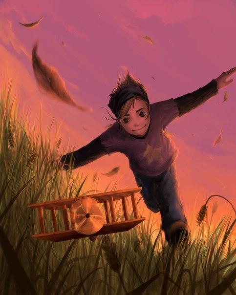 Фото Меленький мальчик бежит по траве за игрушечным самолетом на фоне розового неба, художник Кирилла Роландо / Cyril Rolando