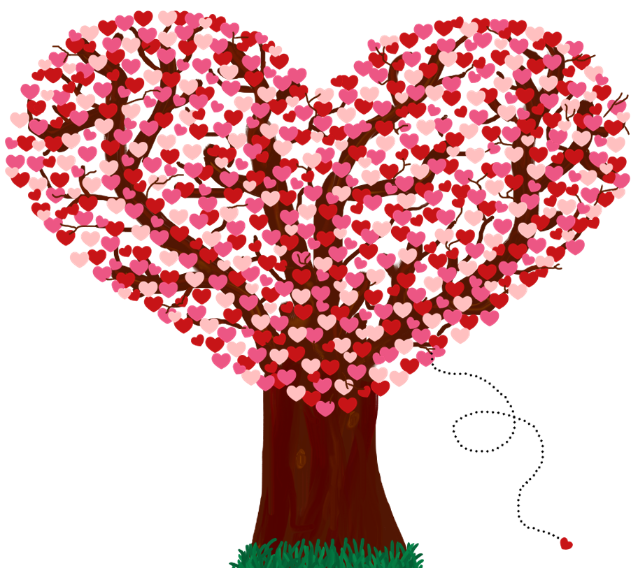 Фото Дерево с кроной из красных сердечек