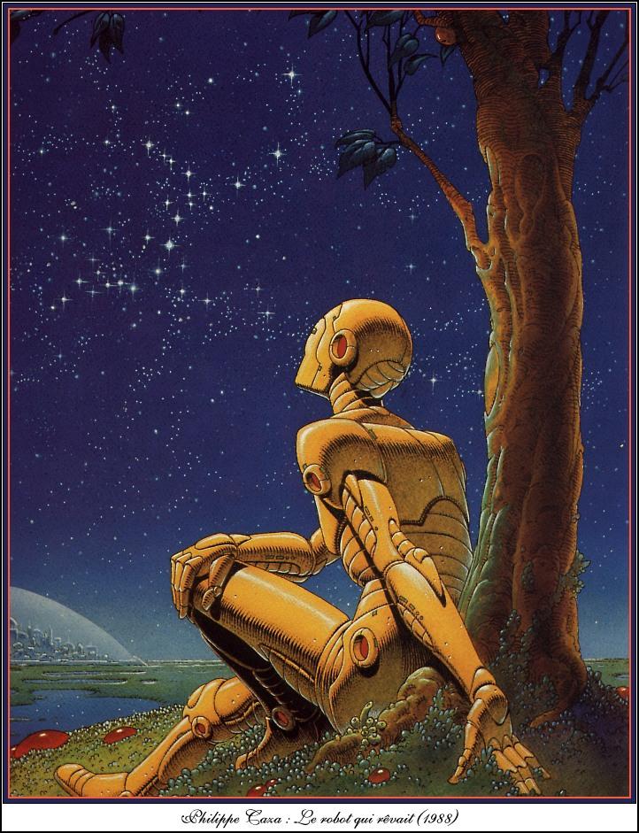 Фото Робот сидит у дерева и смотрит на звезды, Le robot qui revait / Робот который мечтал, художник Philippe Caza / Филипп Каза