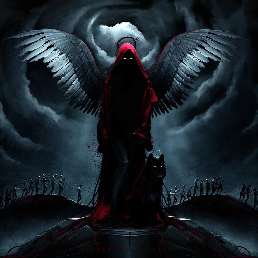 Фото Девушка - демон с крыльями за спиной, стоящая на ...