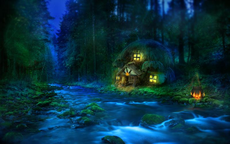 Бегущей реки на фоне ночного леса