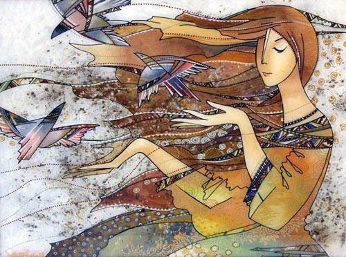 Картинка подмигивает девушка