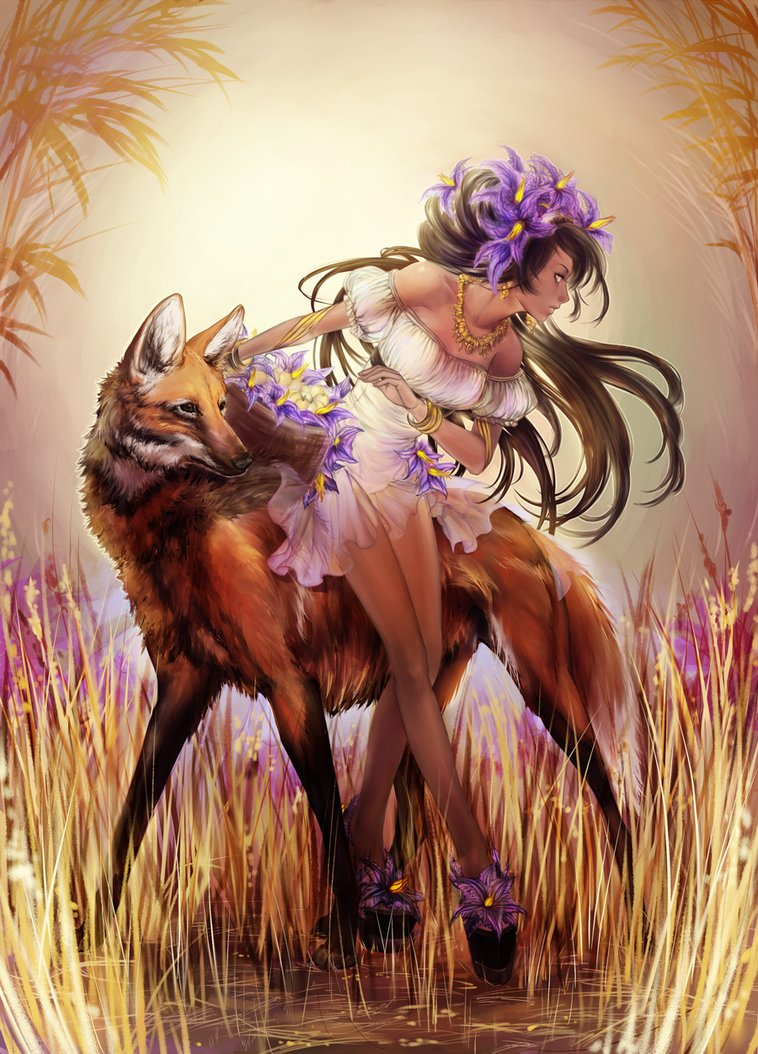 Фото девушка с цветами в волосах и