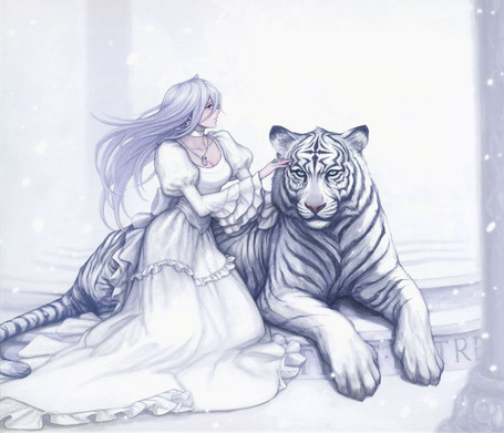 Фото Девушка обнимает бенгальского тигра