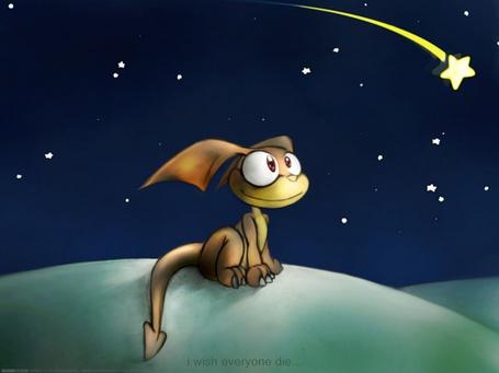 Фото Маленький динозаврик, который смотрит на падающую звезду