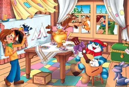 Фото Дядя Федор, кот Матроскин, пес Шарик, почтальон Печкин, галченок и корова Мурка отдыхают на каникулах в Простоквашино, из одноименного мультфильма Каникулы в Простоквашино