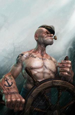 Фото Бывалый моряк, настоящий морской волк, весь в татуировках, посасывая пеньковую трубочку стоит за штурвалом и ведет корабль в бушующем море
