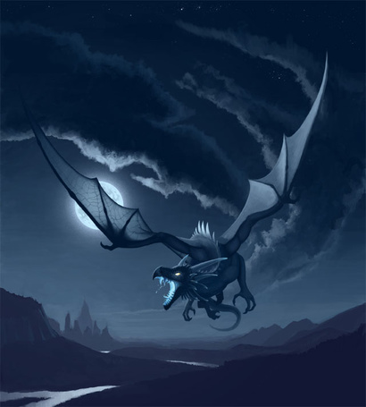 Фото Дракон пролетает в небе при свете полной луны