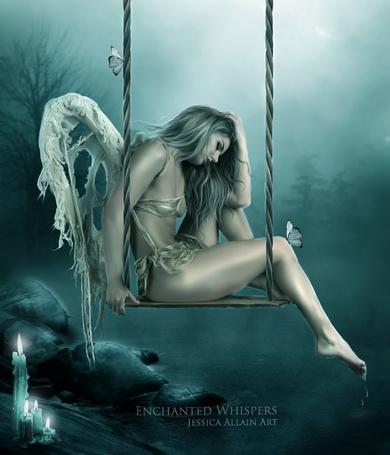 Фото Девушка ангел с рваными крыльями сидит на качелях над озером, арт Enchanted Whispers, Jessica Allain Art