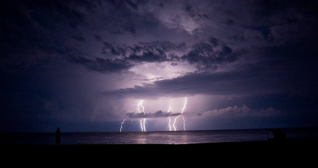 Фото Громовые вспышки в небе достающие до воды и человек у берега любуется ими (© Поп-корн), добавлено: 15.05.2013 16:47