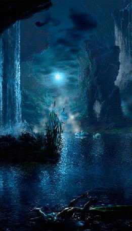 Фото Пара белых лебедей, плавающих на горном озере на фоне ночного пасмурного неба с взошедшей луной