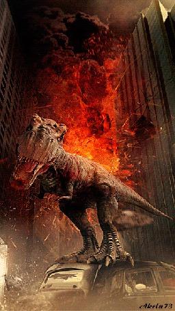 Фото Динозавр, стоящий на крыше автомобиля на фоне горящего здания