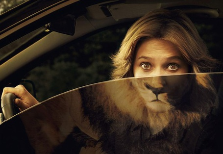 Фото Девушка выглядывает на половину из окна машины, в другой половине отражается морда льва (© ), добавлено: 16.05.2013 08:03