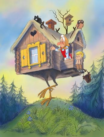 Фото Мальчик Митя в гостях у своей родственницы Бабы Яги путешествует на Избушке на курьих ножках, иллюстрация из сказки Эдуарда Успенского Вниз по волшебной реке, художник Виктор Чижиков