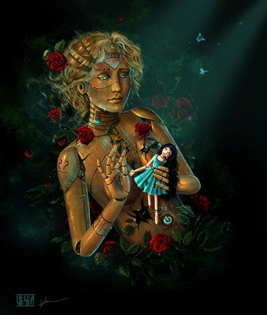 Фото Девушка робот, оплетенная розами, плачет, держа в руках куклу, художница Любовь Щупак