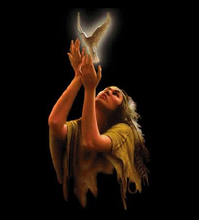 Фото Девушка в образе индейца отпускает белого голубя (© Taira), добавлено: 18.05.2013 19:35