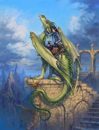 Фото Дракон сидит на развалинах древнего замка, его оседлал смелый наездник - эльф