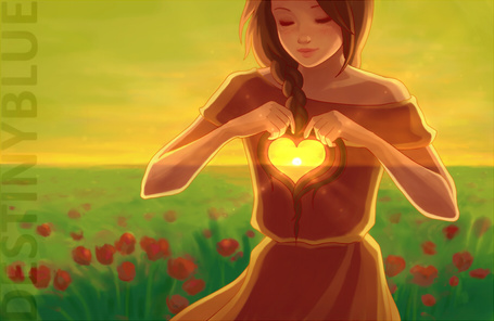 Фото В груди девушки, стоящей посреди поля из красных тюльпанов, пустота в виде сердца, в котором виднеется солнце. Автор DestinyBlue (© Seona), добавлено: 25.05.2013 16:04