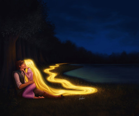 Фото Rapunzel / Рапунцель и Принц Flinn / Флинн, целуются на опушке леса (© Seona), добавлено: 26.05.2013 21:01