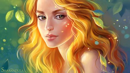 Фото Девушка с золотыми волосами в окружении листьев. Автор sharandula