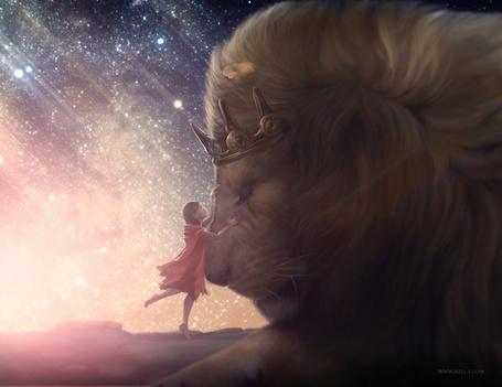 Фото Девочка пытается достать свою собаку с гривы большого льва с короной на голове, на фоне космоса. Автор nell-fallcard