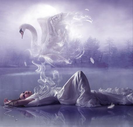 Фото Лежащая над водой девушка из которой выходит дым в виде лебедя