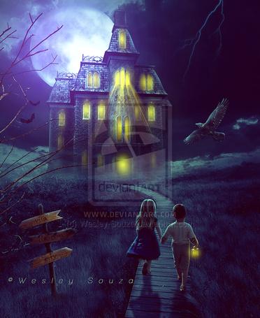 Фото Девочка и мальчик идут ночью к дому, в котором горят огни, художник Wesley Souza (© Banditka), добавлено: 30.05.2013 00:52