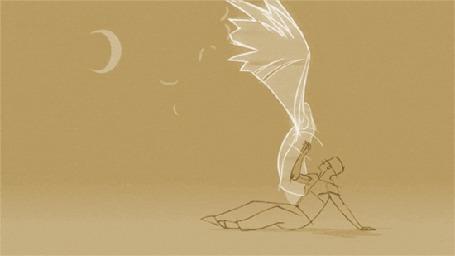 Фото Мужчина пытается поймать девушку - ангела, но она падая распадается на частицы, в небе светит луна, короткометражный ролик от режиссера Ryan J Woodward / Райана Вудворда из фильма Thought of You / Мысли о тебе
