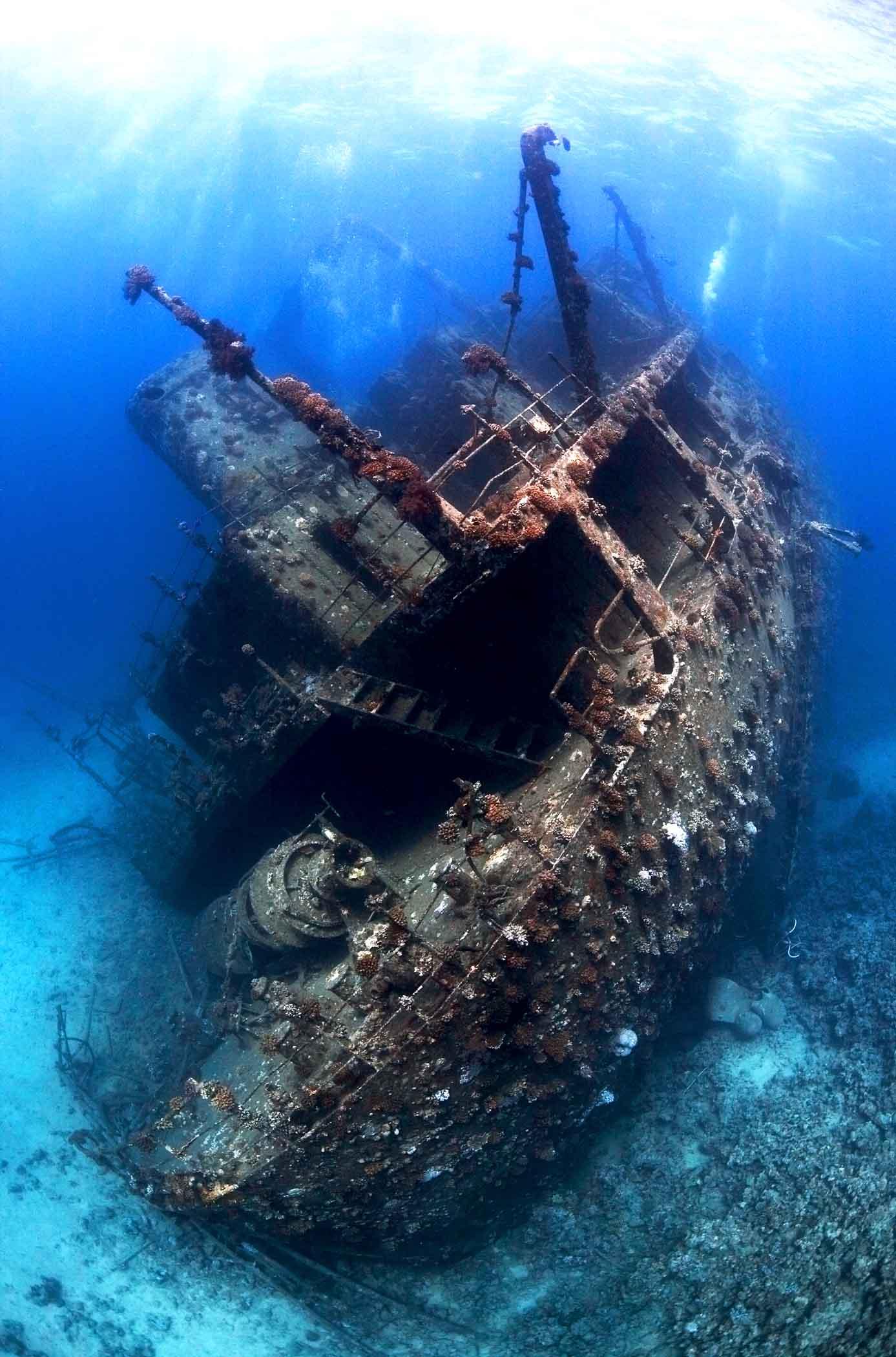Фото затонувший корабль на дне моря.