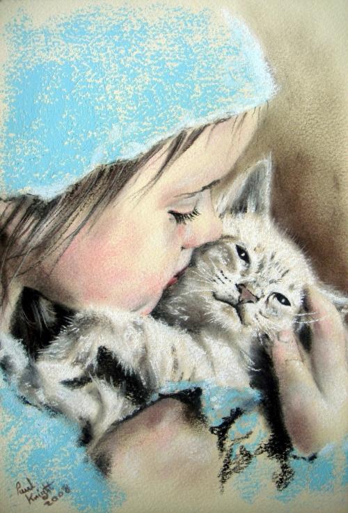 Рисунки девочка с котенком на руках