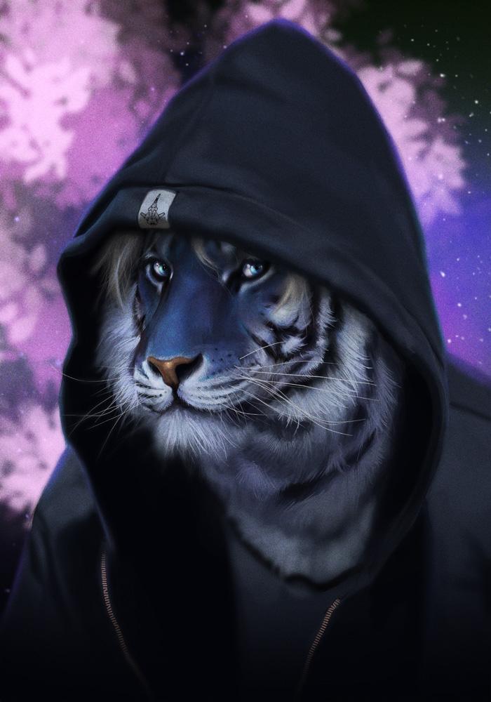 Свободная кофточка тигр голубая