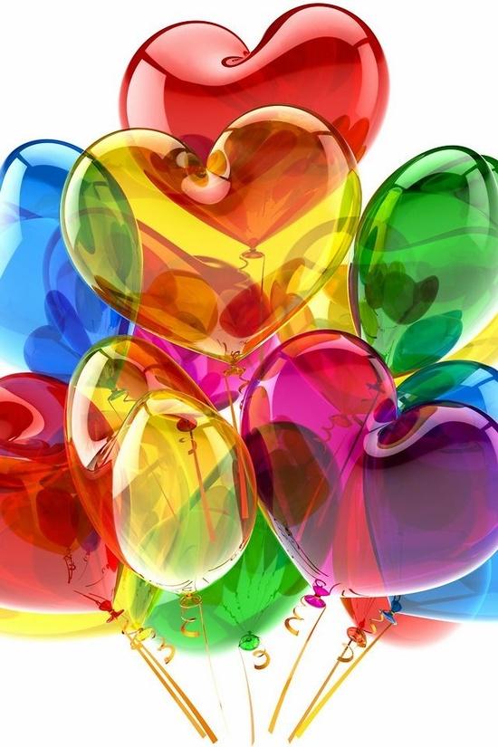 Февраля, открытки с сердечками и шариками